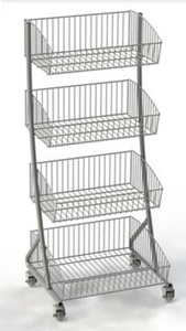 4 Baskets Dispay Rack W/4 Wheels                   MW-B001