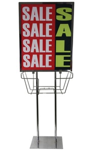 Chrome Poster Stand W/weight Base MF22C