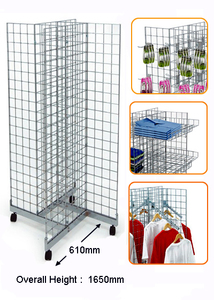 4 Way Chrome Gridwall Rack  MW-G002